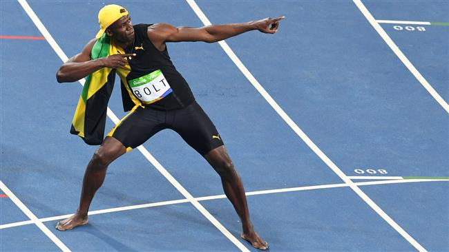 On top of the world: Usain Bolt wins the 100 meter final