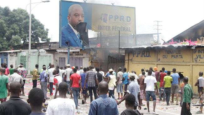 Protest against controversial plan by President Joseph Kabila to continue to stay in power