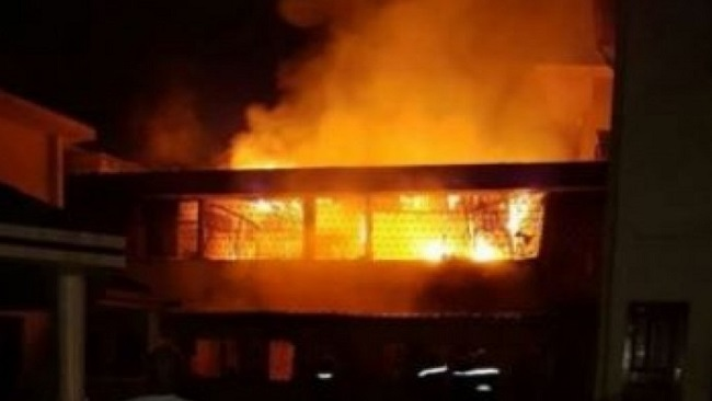 Fire destroys large parts of a French primary school in Douala