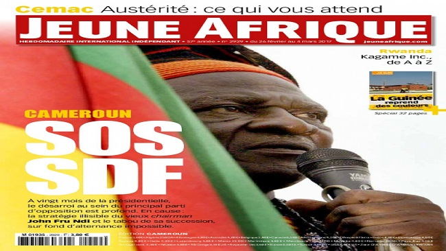 Jeune Afrique dedicates full page on the decline of the SDF