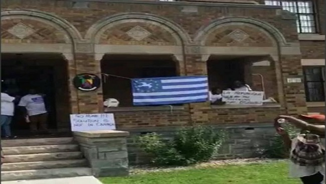 Biya regime falling apart as Ambazonia flag flown above embassy building in Canada