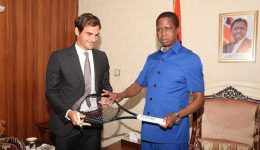 Tennis great Roger Federer meets Zambian president during working tour