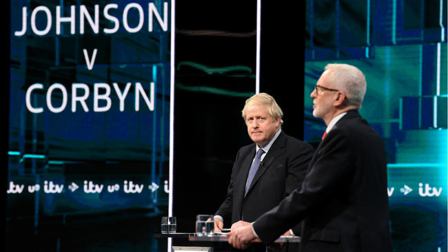 British PM and Labour leader clash over Brexit in first UK election debate
