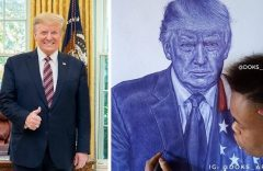 US: President Trump hails 'wonderful' Nigerian artist who drew his portrait