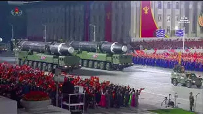 North Korea displays new intercontinental ballistic missile at military parade