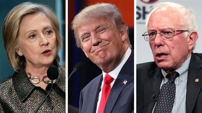 Sanders attacks Trump, Clinton