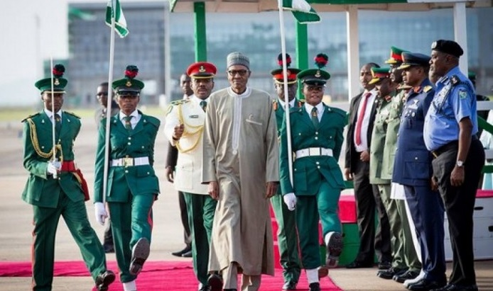 President Buhari returns home after spending 13 days in a London hospital