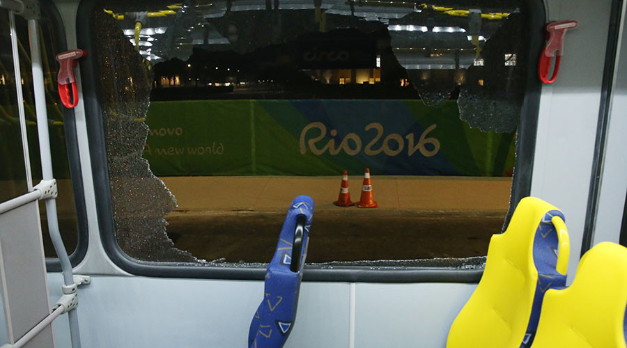 Bus carrying journalists covering the Olympic Games comes under gun attack