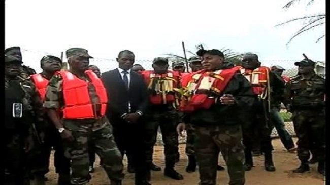 Chief of  Army Staff General Rene Claude Meka inspects project sites in the Baksassi Peninsula