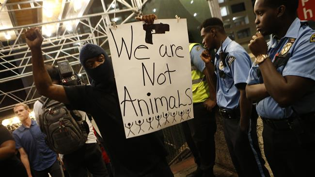 US: Protester shot at a demonstration against police brutality on African Americans