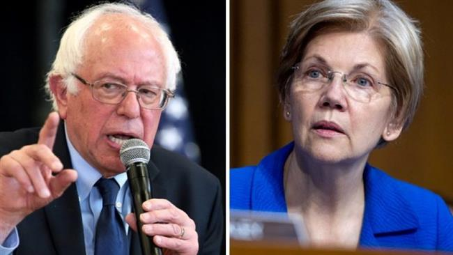 Senators Bernie Sanders and Elizabeth Warren rally progressives around Hillary Clinton