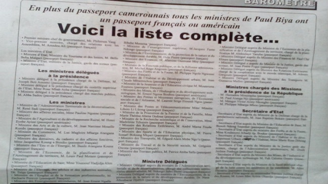 Exposed: Biya's entire cabinet ministers have foreign passports