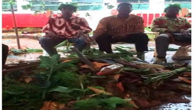 Cameroon government officials take part in rituals performed at the Eseka train disaster site
