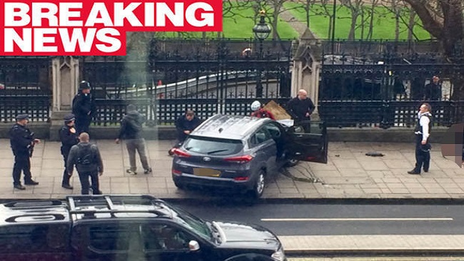 Knifeman rams car into crowd at Parliament in London terror attack