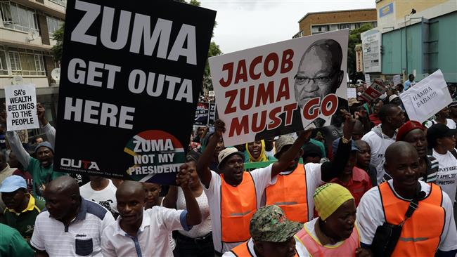 South Africans hold nationwide protests against Zuma