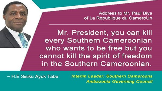 Southern Cameroons Ambazonia Governing Council leader's address to the nation