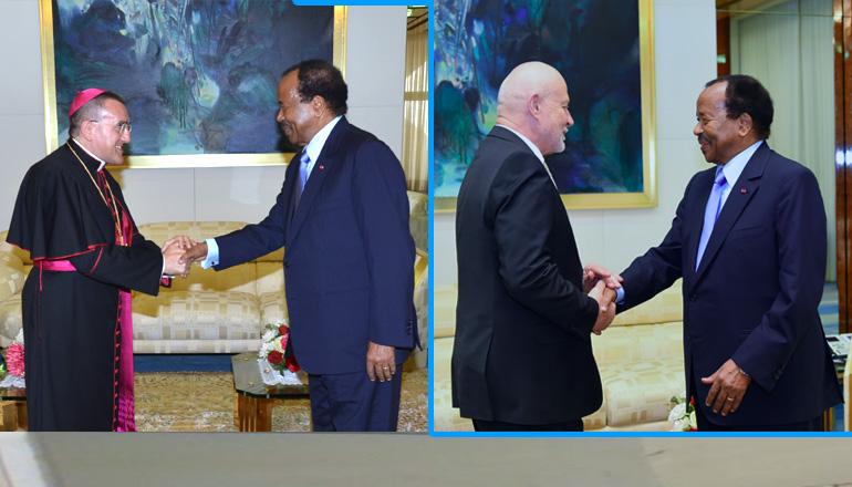 Biya sends off Apostolic Nuncio, Russian Ambassador