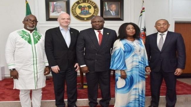 FIFA President Gianni Infantino, CAF's Ahmad Ahmad in Lagos
