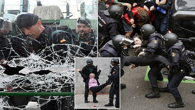 EU Democracy in action as Spanish police break up blockade of Catalan roads by separatist protesters