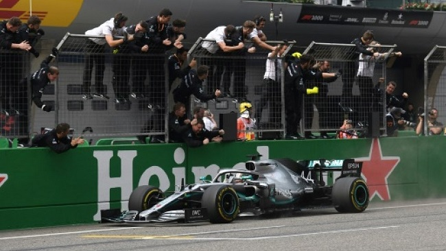 Hamilton wins 1,000th race in Mercedes one-two