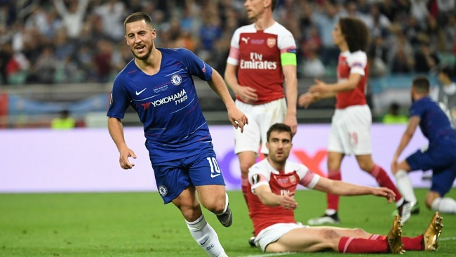 Hazard scores brace as Chelsea thrash Arsenal 4-1 to win Europa League