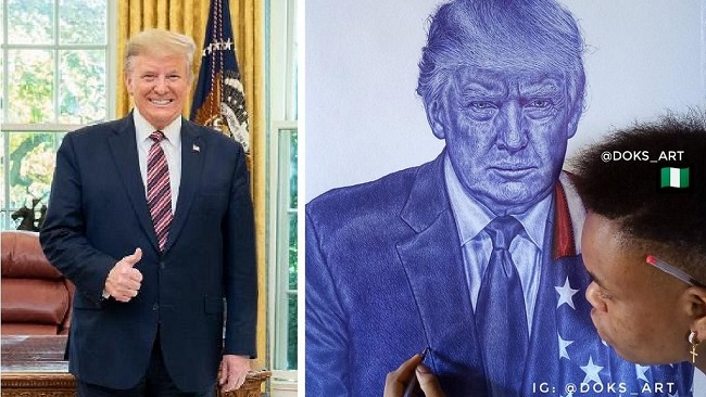US: President Trump hails 'wonderful' Nigerian artist who drew his portrait