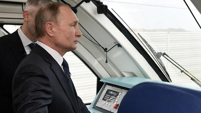 President Putin opens railway bridge connecting Crimea to Russia
